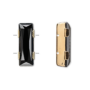 spacer bar, swarovski crystals and gold-plated brass, jet, 21x8mm double-drilled single-stone faceted rectangle, 8mm between holes. sold individually.