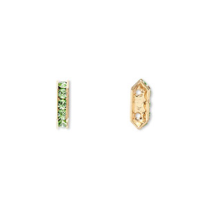 spacer bar, swarovski crystals and gold-plated brass, peridot with silver-foil back, 10.5x2.5mm 2-strand multi-stone rectangle with 4mm between holes, five size pp16 chatons. sold per pkg of 144 (1 gross).