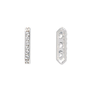 spacer bar, swarovski crystals and rhodium-plated brass, crystal clear, 17.5x2.5mm 3-strand 6-sided, fits up to 4mm bead. sold per pkg of 144 (1 gross).