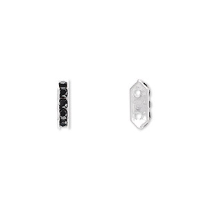 spacer bar, swarovski crystals and rhodium-plated brass, jet, 10.5x2.5mm 2-strand 6-sided (77710), fits up to 4mm bead. sold per pkg of 144 (1 gross).
