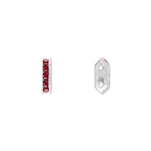 spacer bar, swarovski crystals and rhodium-plated brass, siam, 10.5x2.5mm 2-strand 6-sided (77710), fits up to 4mm bead. sold per pkg of 144 (1 gross).