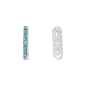 spacer bar, swarovski crystals and silver-plated brass, crystal passions, aquamarine, 17.5x2.5mm 3-strand, fits up to 4mm bead. sold per pkg of 4.