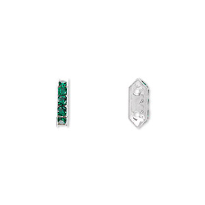 spacer bar, swarovski crystals and silver-plated brass, emerald with silver-foil back, 10.5x2.5mm 2-strand multi-stone rectangle with 4mm between holes, five size pp16 chatons. sold per pkg of 144 (1 gross).