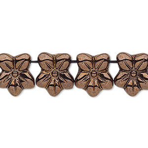spacer, czech pressed glass, antique bronze gold, 13x11mm 2-strand flower. sold per 8-inch strand, approximately 20 spacers.