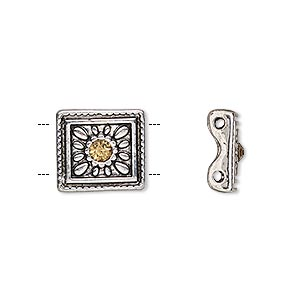 spacer, glass rhinestone and antique silver-finished pewter (zinc-based alloy), light brown, 13x12mm single-sided 2-strand square with flower design, fits up to 5mm bead. sold per pkg of 4.