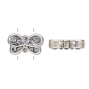 spacer, glass rhinestone and antique silver-finished pewter (zinc-based alloy), purple, 17.5x10mm single-sided 2-strand butterfly, fits up to 5mm bead. sold per pkg of 2.