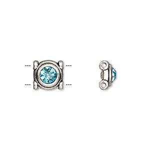 spacer, glass rhinestone and antique silver-finished pewter (zinc-based alloy), aqua blue, 9mm single-sided 2-strand round, fits up to 5mm bead. sold per pkg of 6.