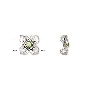 spacer, glass rhinestone and antique silver-finished pewter (zinc-based alloy), green, 10x10mm single-sided 2-strand flower, fits up to 5mm bead. sold per pkg of 6.