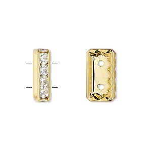 spacer, glass rhinestone and gold-plated pewter (zinc-based alloy), clear, 16x4mm 2-strand rectangle, fits up to 6mm bead. sold per pkg of 2.