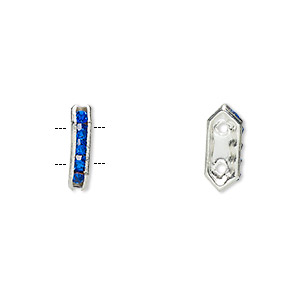spacer, glass rhinestone and silver-plated brass, blue, 11x2.5mm 2-strand bridge, fits up to 4.5mm bead. sold per pkg of 10.