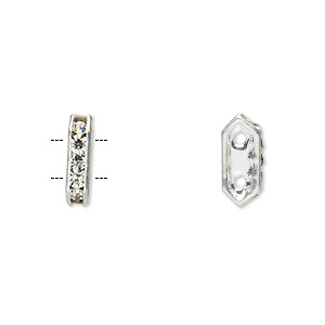 spacer, glass rhinestone and silver-plated brass, crystal, 11x2.5mm 2-strand bridge, fits up to 4.5mm bead. sold per pkg of 10.