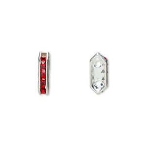 spacer, glass rhinestone and silver-plated brass, red, 11x2.5mm 2-strand bridge, fits up to 4.5mm bead. sold per pkg of 10.