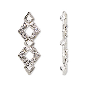 spacer, glass rhinestone and silver-plated pewter (zinc-based alloy), clear, 32.5x12mm 3-strand double diamond, fits up to 10mm bead. sold per pkg of 10.