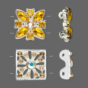 spacer, glass rhinestone and silver-plated pewter (zinc-based alloy), orange, 17x16mm flower and 15x15mm square. sold per pkg of 2.
