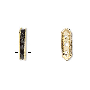 spacer, gold-finished brass and rhinestone, black, 16x3.5mm 3-strand bridge, fits up to 3.5mm bead. sold per pkg of 10.