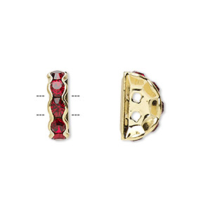 spacer, gold-finished brass and rhinestone, garnet red, 12x4mm 2-strand half-round bridge, fits up to 3.5mm bead. sold per pkg of 10.