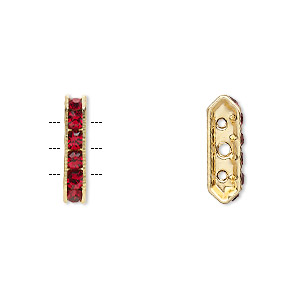 spacer, gold-finished brass and rhinestone, garnet red, 16x3.5mm 3-strand bridge, fits up to 3.5mm bead. sold per pkg of 10.