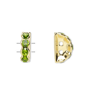 spacer, gold-finished brass and rhinestone, peridot green, 12x4mm 2-strand half-round bridge, fits up to 3.5mm bead. sold per pkg of 10.