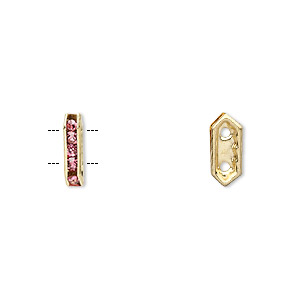 spacer, gold-finished brass and rhinestone, rose, 11x2.5mm 2-strand bridge, fits up to 4.5mm bead. sold per pkg of 10.