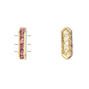 spacer, gold-finished brass and rhinestone, rose, 16x3.5mm 3-strand bridge, fits up to 3.5mm bead. sold per pkg of 10.