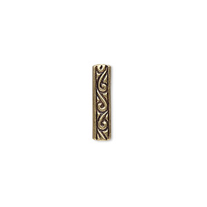 spacer, jbb findings, antiqued brass, 16.5x4mm 3-strand rectangle and single-sided swirl design. sold individually.