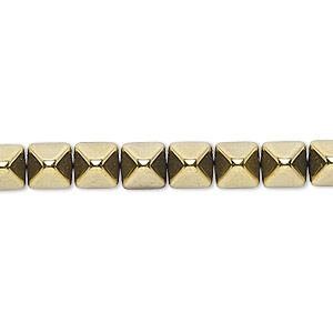 spacer, preciosa, czech pressed glass, opaque bronze gold, 6x6mm 2-strand pyramid, fits up to 3mm bead. sold per 8-inch strand, approximately 30 spacers.