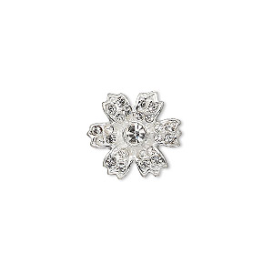 spacer, silver-plated pewter (zinc-based alloy) and czech glass rhinestone, clear, 14x14mm 2-strand single-sided flower, fits up to 6mm beads. sold individually.