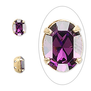 spacer, swarovski crystals and gold-plated brass, amethyst, 8x6mm 2-strand oval (15504), fits up to 3mm bead. sold per pkg of 48.