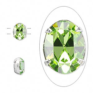 spacer, swarovski crystals and rhodium-plated brass, crystal passions, peridot, 8x6mm 2-strand oval (15504), fits up to 3mm bead. sold per pkg of 24.