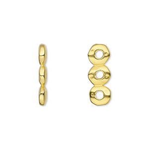 spacer, tierracast, gold-plated pewter (tin-based alloy), 18x2.5mm 3-strand rondelle nugget with 2mm hole, fits up to 6mm bead. sold per pkg of 2.