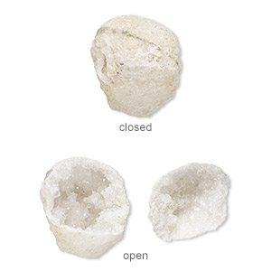 specimen, calcite geode (natural), 30x29mm-51x39mm freeform, mohs hardness 3. sold per 2-piece set.