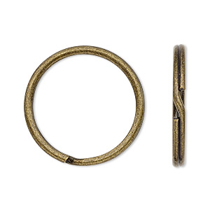 split ring, antique brass-plated steel, 25mm round. sold per pkg of 10.