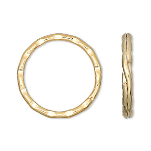 split ring, gold-finished steel, 25mm hammered round. sold per pkg of 100.