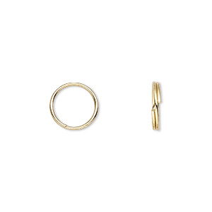 split ring, gold-plated steel, 10mm round. sold per pkg of 100.