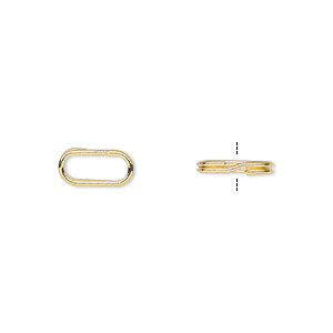 split ring, gold-plated steel, 10x5mm oval with 8x3mm hole. sold per pkg of 10.