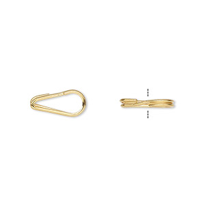 split ring, gold-plated steel, 12x6mm teardrop with 9x3.5mm hole. sold per pkg of 10.