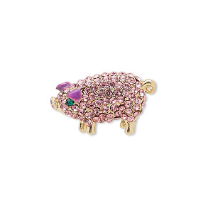 spot pin, czech glass rhinestone / enamel / gold-finished brass / pewter (zinc-based alloy), purple / pink / green, 22x14mm pig. sold individually.