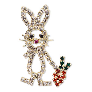 spot pin, czech glass rhinestone with gold-finished brass and pewter (zinc-based alloy), multicolored, 39x25mm bunny with carrot. sold individually.
