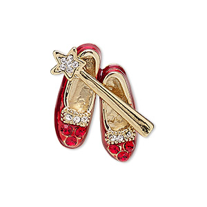 spot pin, enamel / czech glass rhinestone / gold-finished brass / pewter (zinc-based alloy), red and clear, 27x24mm shoes and wand. sold individually.