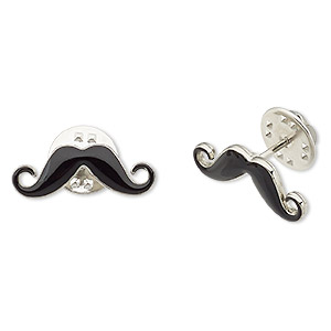 spot pin, enamel and silver-plated pewter (zinc-based alloy), black, 22x7mm mustache. sold per pkg of 2.