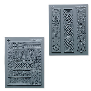 stamp, lisa pavelka, rubber, grey, 4-1/4 x 5-1/2 inches with cultural texture. sold per pkg of 2.