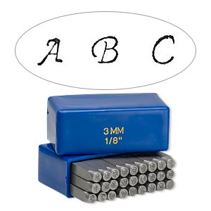 stamp punch, steel and plastic, blue, 2-3/8 x 1/4 inch square tube with 1/8 inch alphabet letters a-z and  symbol. sold per 27-piece set.
