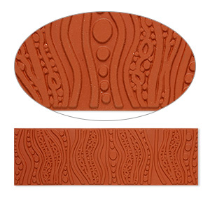 stamping mat, rubber, brown, 7x2-inch rectangle with lava lamp design. sold individually.