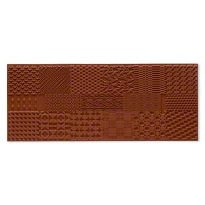 stamping mat, rubber, brown, 8x3-1/4 inch rectangle with wave designs. sold individually.