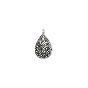 sterling silver and marcasite drops, 12x10mm. sold per pkg of 2.