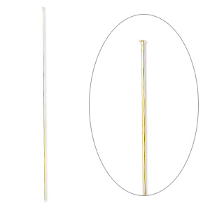 stick pin, gold-finished brass, 8 inches with head, 18 gauge. sold per pkg of 10.