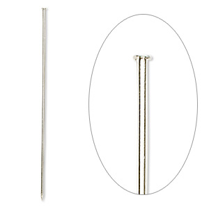 stick pin, silver-plated brass, 3 inches, 18 gauge. sold per pkg of 100.