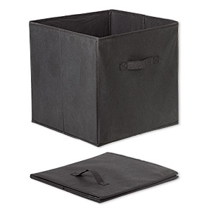 storage box, non-woven polyester and cardboard, black, 13 x 13 x 13 inches assembled with one handle. sold individually.