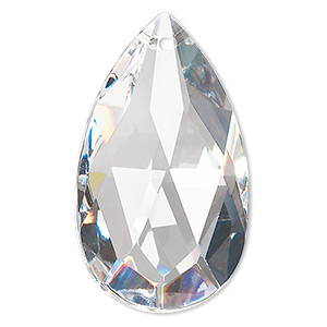 suncatcher, asfour crystal, crystal, clear, 49x28mm faceted puffed teardrop. sold individually.