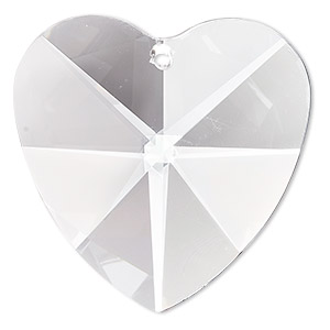 suncatcher, asfour crystal, crystal, crystal clear, 40x39mm faceted heart. sold individually.